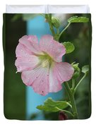 Pink Hollyhock And Rain Duvet Cover