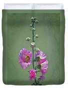 Pink Hollyhocks Duvet Cover