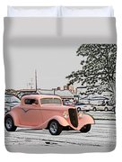 Pink Hot Rod Cruising Woodward Avenue Dream Cruise Selective Coloring Duvet Cover