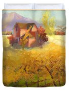 Pink House Yellow Field Duvet Cover