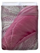 Pink Lavatera Bud Macro Duvet Cover