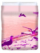 When Seagulls Are Living The Pink Life  Duvet Cover