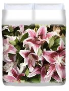 Pink Lilies I Duvet Cover