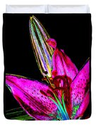 Pink Lily And Bud Pop Art Duvet Cover