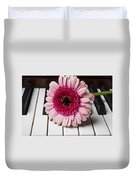 Pink Mum On Piano Keys Duvet Cover