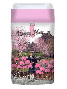 Pink New Year Greeting Duvet Cover