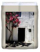 Pink Oleander By The Door Duvet Cover