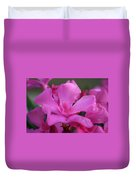 Pink Oleander Flower With Green Leaves In The Background   Duvet Cover