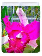 Pink Orchid At Maerim Orchid Farm In Chiang Mai-thailand Duvet Cover