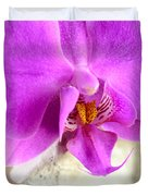 Pink Orchid On White Colored Driftwood Duvet Cover by Sabine Jacobs
