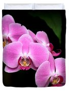 Pink Orchids In A Row Duvet Cover