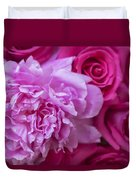 Pink Peonies And Pink Roses Duvet Cover