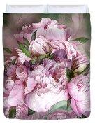 Pink Peonies Bouquet - Square Duvet Cover