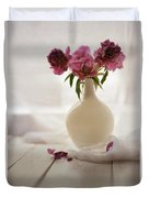 Pink Peonies In A Pot On The Wooden Table Duvet Cover