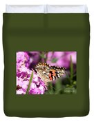 Pink Phlox With Butterfly Duvet Cover