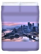 Pink Pittsburgh Morning Duvet Cover