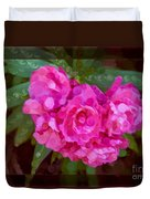 Pink Plumeria Abstract Flower Painting Duvet Cover