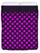 Pink Polka Dots On Black Fabric Background Duvet Cover