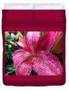 Pink Rain Speckled Lily Duvet Cover