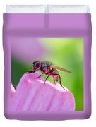 Pink Reflection On Flies Body. Duvet Cover