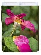 Pink Rose And Its Petals Duvet Cover