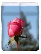 Pink Rose And Trees Duvet Cover