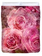 Pink Roses And Pearls Duvet Cover