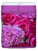 Pink Roses And Peonies Please Duvet Cover