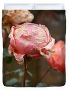 Pink Roses In The First Snow Duvet Cover