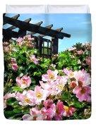 Pink Roses Near Trellis Duvet Cover