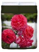 Pink Roses White Picket Fence Duvet Cover