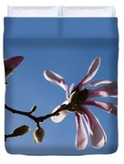 Pink Spring - Blue Sky And Magnolia Blossoms Duvet Cover