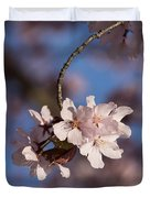 Pink Spring - Sunlit Blossoms And Blue Sky - Vertical Duvet Cover