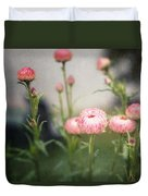 Pink Straw Flowers After A Light Rain Duvet Cover
