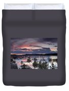 Pink Sunset At The Lake Duvet Cover