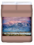 Pink Sunset On Taos Mountain Duvet Cover