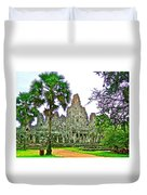 Pink Tower In The Bayon In Angkor Thom In Angkor Wat Archeological Park Near Siem Reap-cambodia Duvet Cover