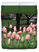 Pink Tulip Patch Duvet Cover