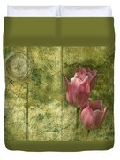 Pink Tulips And Old Clock Duvet Cover