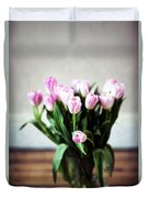 Pink Tulips In A Vase Duvet Cover