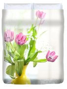 Pink Tulips In Yellow Vase Duvet Cover