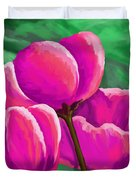 Pink Tulips On Green Duvet Cover
