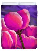 Pink Tulips On Purple Duvet Cover