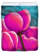 Pink Tulips On Teal Duvet Cover
