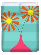 Pink Vase On Blue Duvet Cover