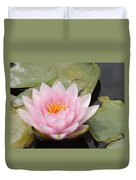 Pink Water Lily And Leaves Duvet Cover