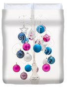 Pink White And Blue Christmas Duvet Cover