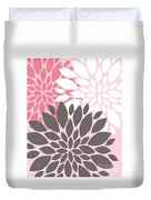Pink White Grey Peony Flowers Duvet Cover