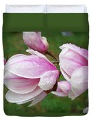 Pink White Wet Raindrops Magnolia Flowers Duvet Cover