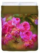 Pink Winter Roses Three Duvet Cover